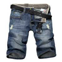 bermuda jeans shorts - Mens fashion short jeans summer bermuda denim shorts men solid cotton Straight jogger ripped jeans Knee Length plus size
