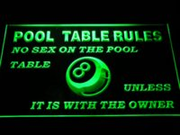 bar owner - s234 Pool Table Rules No Sex unless with the Owner Eight Ball Room LED Neon Sign