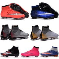 Wholesale Mens Mercurial Superfly FG Kids Soccer Shoes High ANkle CR7 Cleats Laser Youth Women Boys Football Sneakers Boots Size