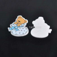 bear quilt patterns - 50pcs x34mm no Holes blue Baby Bear Pattern Decorative Wood Buttons For Scrapbooking Craft Z118 M65959