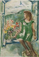 arts window frames - IDA AT THE WINDOW By MARC CHAGALL High Quality Genuine Handpainted MARC CHAGALL COLOR Art oil Painting On Canvas customized size