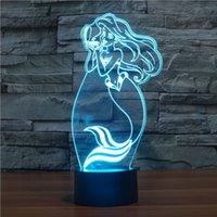 baby girl night lamp - Fairy Tale Mermaid Princess Color Changing LED Baby Night Light D Lamp Decor Bedroom Lighting for Girls Toy Gift