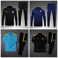 Wholesale 2017 Manchester City Survetement football French tracksuit training suit kits Soccer Chandal training shinny pants sweatershirt