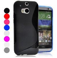 Cas M 8 S Line TPU Matte molles en caoutchouc couverture arrière pour HTC One M8 ONE 2 deux cas, la peau de protection en silicone de téléphone mobile