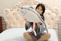 Wholesale Large Size CM Cute Shark Big Fish Cartoon Plush Toys Stuffed Animals Cushion Toys for Kids Long Pillow Saury Cloth Doll Toy