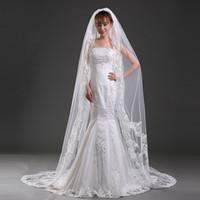 Wholesale Vintage Ivory White Lace Bridal Wedding Veil Cheap One Layer Tulle Appliques M Length Bridal Accessories Bridal Veil Cheap Free Shippi