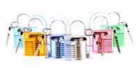 Wholesale 6pcs transparent padlock Transparent Visible Pick Cutaway Mini Practice View Padlock Lock Training Skill For Locksmith with keys