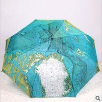 artistic umbrella - English World Map umbrella originality Artistic flower cute UV protection Personality Sun umbrella quality