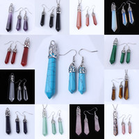 Wholesale Sets High Quality Silver Plated Mixed Order Quartz Stone Hexagon Column Pendant Dangle Earring Charm Jewelry
