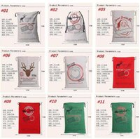 Wholesale DHL Free popular Christmas Large Canvas Bags styles for choose Santa Claus Drawstring Bags With Reindeers cotton Christmas Gift Sack Bags