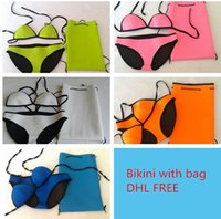 bag waist suit - 2016 NEW Bikini Sexy Brazilian Style Bikini Neoprene Swimwear Bathing Suit With Neoprene Bikini Bags for Women D604