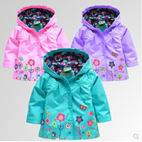 Wholesale 2016 Hot Autumn Children Winter Outwear Printed Flower Baby Clothing Kids Jackets Girls With Hooded Flower Raincoats Coat