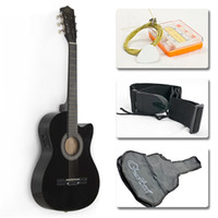 Wholesale Electric Acoustic Guitar Cutaway Design With Guitar Case Strap Tuner Black New