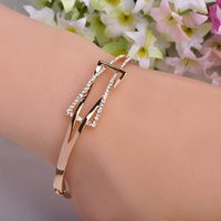 Wholesale High Quality Rhinestone Crystal Bangle Bracelet for Women Men Tin Alloy K Gold Plated Exquiste Made Luxurious Jewelry Pulseira