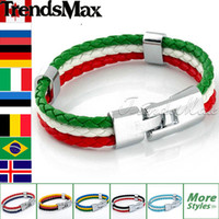 olympic flag - 2016 Hot Sale National Flags Bracelets Olympic Games World Cup Fans Braided Rope Charms Bracelets Unisex Pu Leather Bracelet