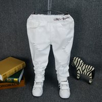 Wholesale Boys girls clothing baby boys spring jeans cotton baby s pants toddler kids white trousers children s harem pants autumn cloth
