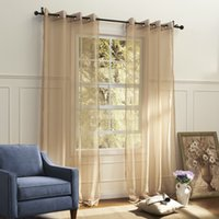 Wholesale Country Elegant Beige Solid Eco friendly Sheer Curtains Grommet Top With Custom Multi Size