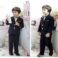 Wholesale Boy s Formal Wear Two Button Black Custom Made Little Toddler Big Boys Dress Suit Tuxedo Jacket Pants