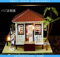 beach wood furniture - Wooden D Puzzle Miniature Doll House Wood Handmade Dolls Toys miniatura Dollhouse Furniture Litht Birthday Gift The beach house