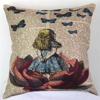 alice cotton - Buythecase Unique Fashion Design One side print Satin fabric Alice In Wonderland Throw Pillow Cover size CM X CM ZH835