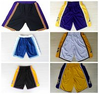basketball boxers - 2016 Los Angeles lakerses new basketball shorts Bryant shorts top quality shirt for men New Material sport short Rev Embroidery