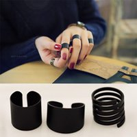 Wholesale Women Fashion Ring Sets Black Stack Plain Above Knuckle Ring Band Midi Rings The Master Sun Party Jewelry Sets GiftsZJ R01
