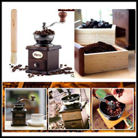 Wholesale Hot Sale Beautiful Retro design Manual Coffee Bean Spice Herbs Vintage Style Hand Grinder Wooden Retro Burr Mill