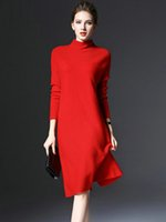 Wholesale Women Sweater Dresses Loose Nice Ladies Sweater Dresses Three Colors Plus Size Sweater Knee Length Long Sleeve Women Fall Sweaters Red Dress