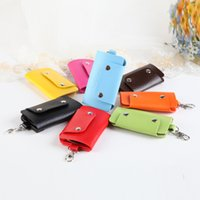 Wholesale New Fashion Leather Key Wallets Interior KeyChain bag Holder Creative Card Package Multi function key bag for Keys Holder DHL