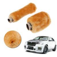 Wholesale 2 Car Gear Shift Cover Soft Plush Handbrake Grips Cover Yellow Winter Warm Car Accessory