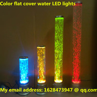 Wholesale The bionic fish lamp Water column lamp New color flat cover water LED lights cylindrical aquarium home office store feng shui decoration bar