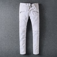 Wholesale Hot Sell White Ripped balmain biker jeans Men With Holes Super Skinny Famous Designer Brand Slim Fit Destroyed Torn Jean Pants For Male
