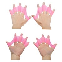 Wholesale Silicone Swimming Fins Flippers pair Frog Hand Swim Webbed Glove Training Paddle Dive Swimming Equipment Multi Size New