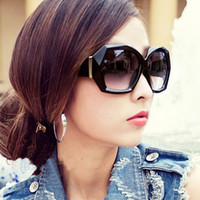 Wholesale 10Pcs Women s Vintage Polygon Sunglasses Big Crystal Transparent Sun Glasses Gradient Lenses Eyewear Colors