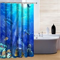 Wholesale New Arrival Shower Curtains Sea World Eco Friendly Polyester Bathroom Curtain Waterproof Washable Bath Curtains