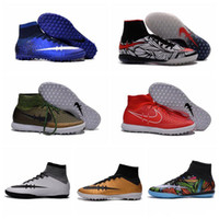Wholesale 2016 Proximo Street Elastico Superfly TF Soccer Cleats Turf Football Boots Men Soccer Shoes Botas Futbol Black White Red