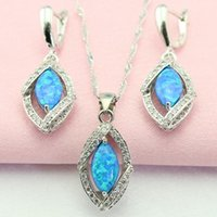 Wholesale Fire White Blue Opal Zircon Sterling Silver Jewelry Sets For Women Necklace Pendant Earrings Christmas Gift Made in China