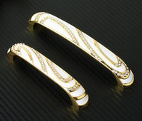 Wholesale 2pcs Gold Crystal Rhineston Diamond Furniture Hardware Knobs Drawer Wardrobe Kitchen Cabinets Cupboard Dresser Handle Pulls Door Accessories
