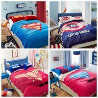 autumn quilt fabric - LJJL187 Autumn Winter Captain America Bed Sheet Quilt Cover Pillowcase Duvet Cover Cartoon Warm Superman Goose Down Bedding Sets