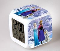Wholesale Frozen Alarm Clocks LED Change Digital Alarm Clock frozen Anna and Elsa Thermometer Night Colorful Glowing toys