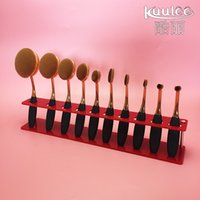 acrylic cosmetics display - 10 Brush Storange Place Organizer Clear white red Acrylic Lattices Cosmetic Display Shelf for toothbrush design makeup brushes set