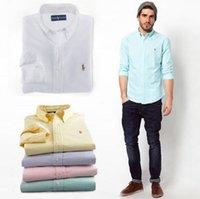 oxford shirts - New Fashion Small Horse Oxford Men Shirts Long Sleeve Mens Dress Shirts High Quality Mens Business Shirts Chemise Homme