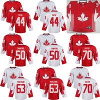 Cheap Mens Team Canada 63 Brad Marchand 37 Patrice Bergeron 50 Corey Crawford 2016 World Cup of Hockey Olympics Game White Jersey Stitched