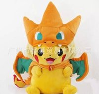 Wholesale 2styles Pikachu Cosplay Charmander Plush Toys Cute Plush Stuffed Animals Soft dolls Fashion Cartoon Plush Toys