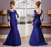 Wholesale Royal Blue Appliqued Long Sleeve Mermaid Floor Length Mother of The Bride Evening Dresses HY1499
