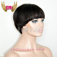 african american lace front wigs - Best brazilian hair wigs with Bangs Virgin Short Pixie Human Hair Wigs lace front cheap African American Hair Wigs for Black Women