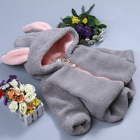 Wholesale The new winter baby bunny ears cotton padded clothes Add hair thickening warm children cotton coat