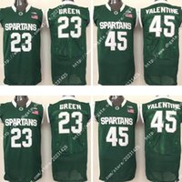 Wholesale Michigan State Magic Johnson Spartans Draymond Green Denzel Valentine College Embroidery Logos Stitched Jerseys Sweatshirts