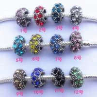 Wholesale Big Hole Loose Beads Full Crystal Mixed colors for choose Pandora Style DIY Jewelry Sliver Charms