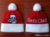beanies on sale - On Sale Christmas Santa Claus Red White with Pom for Children winter Knitted hats baseball basketball football teams beanies Albums offered